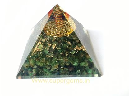 Picture of green aventurine flower of life orgone pyramid